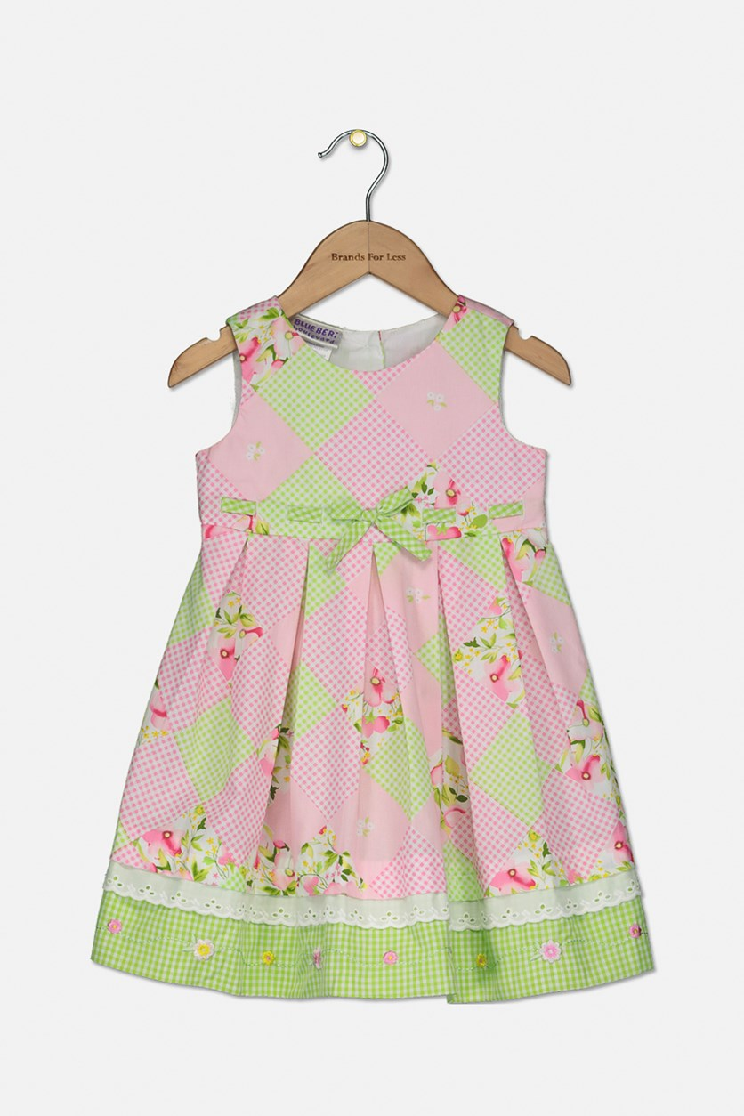 Baby Girls Checkerboard-Print Dress, Pink/Green