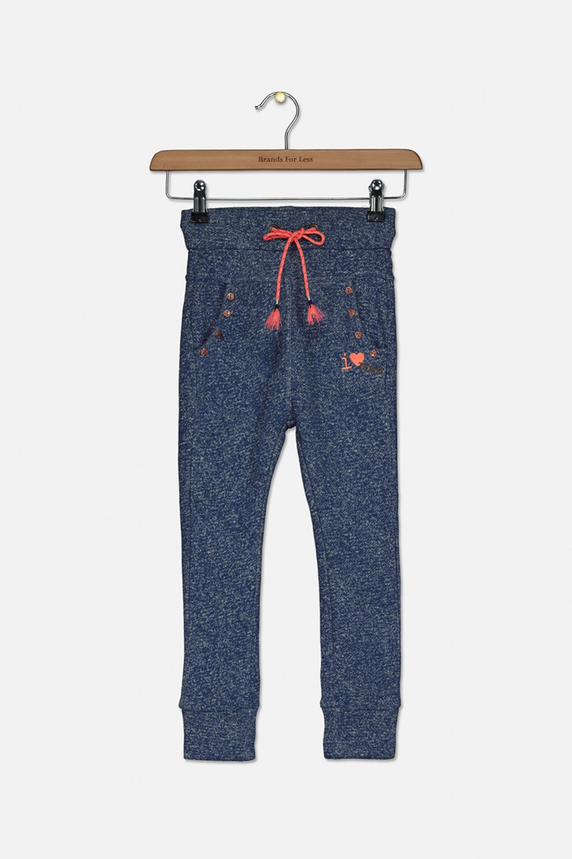 Kids Girl's Textured Pants, Blue Combo
