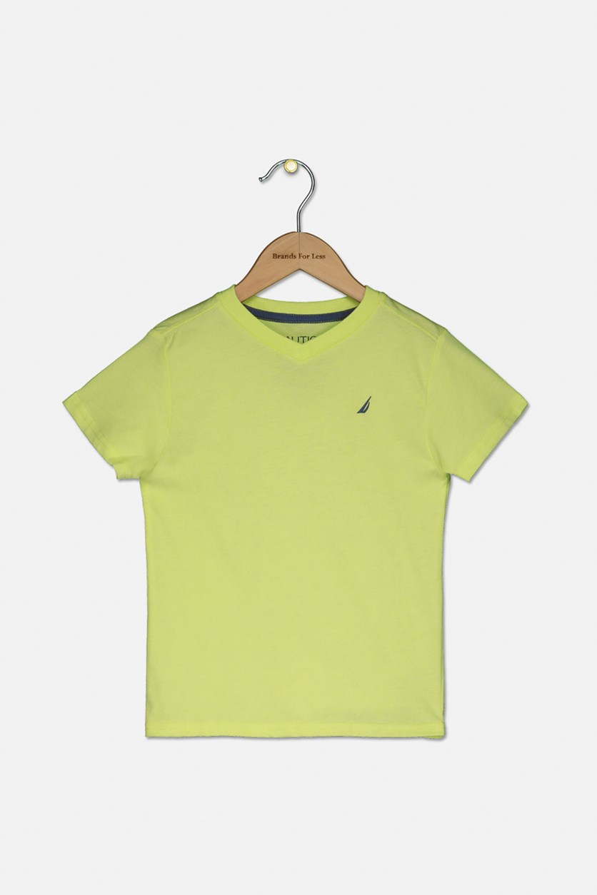 Toddlers V-Neck T-Shirt, Sun Lime