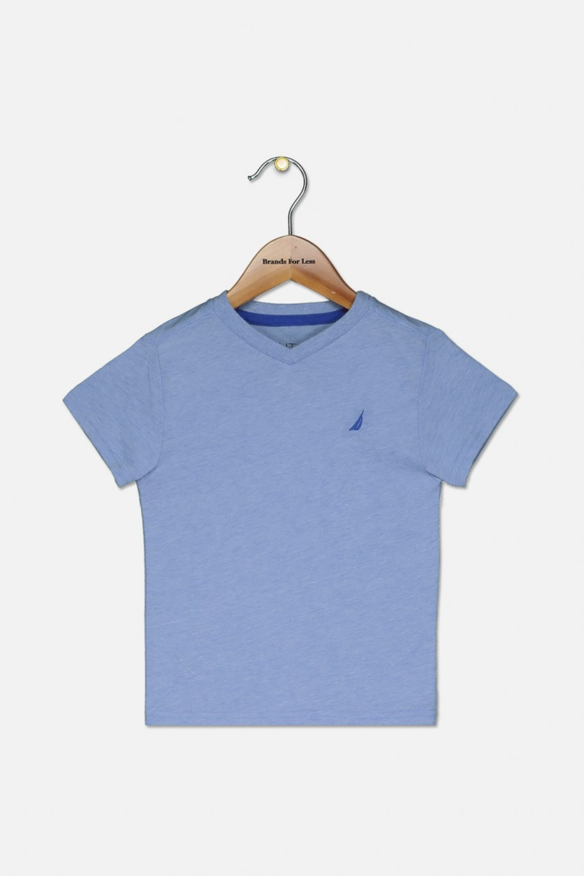 Toddlers V-Neck T-Shirt, Corn Blue