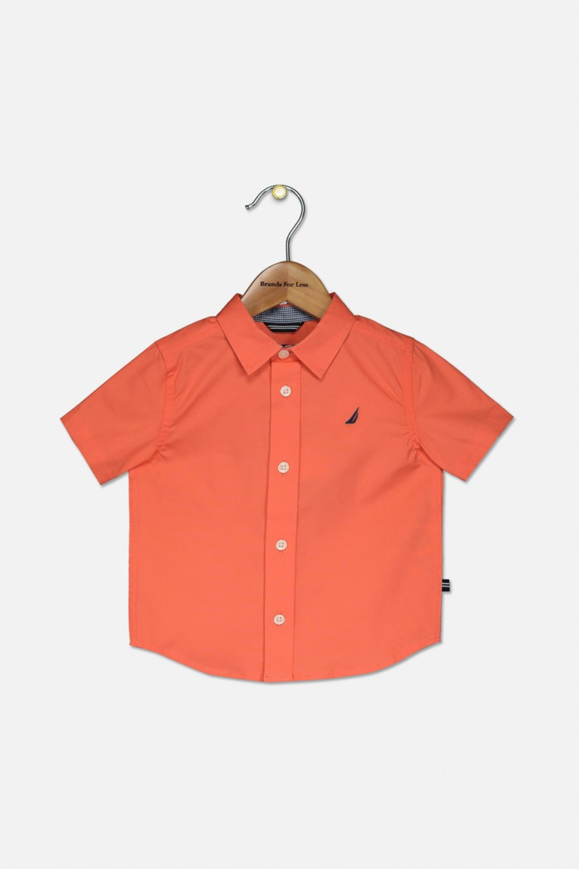 Baby Boy's Embroidered Casual Shirt, Hibiscus