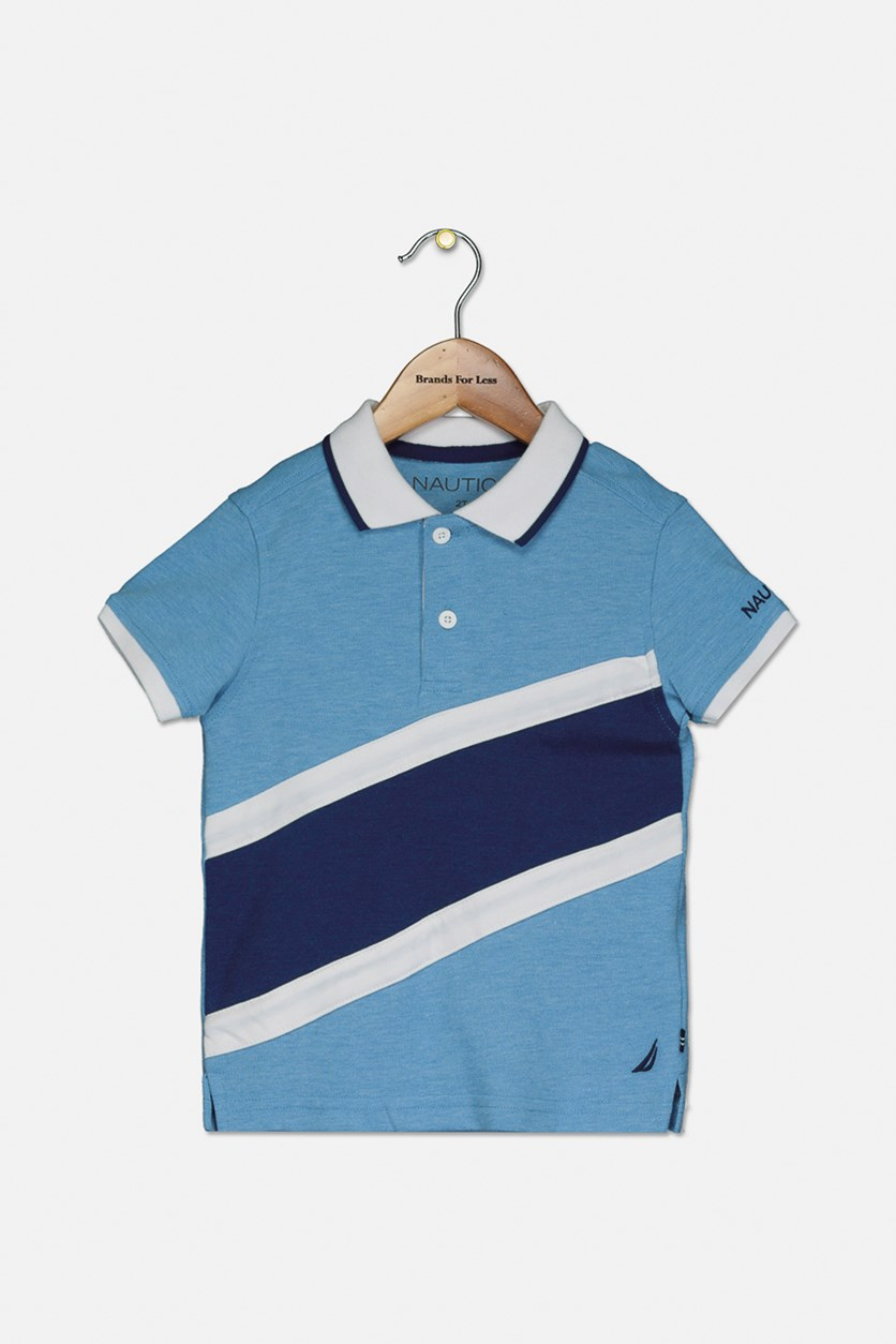 Toddlers Stripe Polo Shirt, Ocean