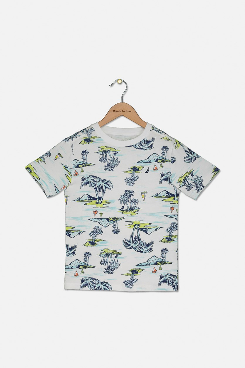 Boy's Graphic Printed T-Shirt, White Combo