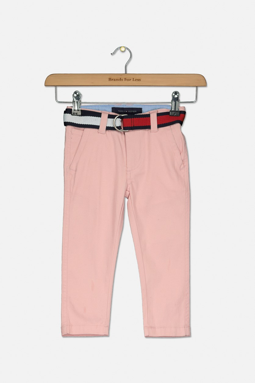 Toddler Boys Belted Twill Pants, Silver Pink