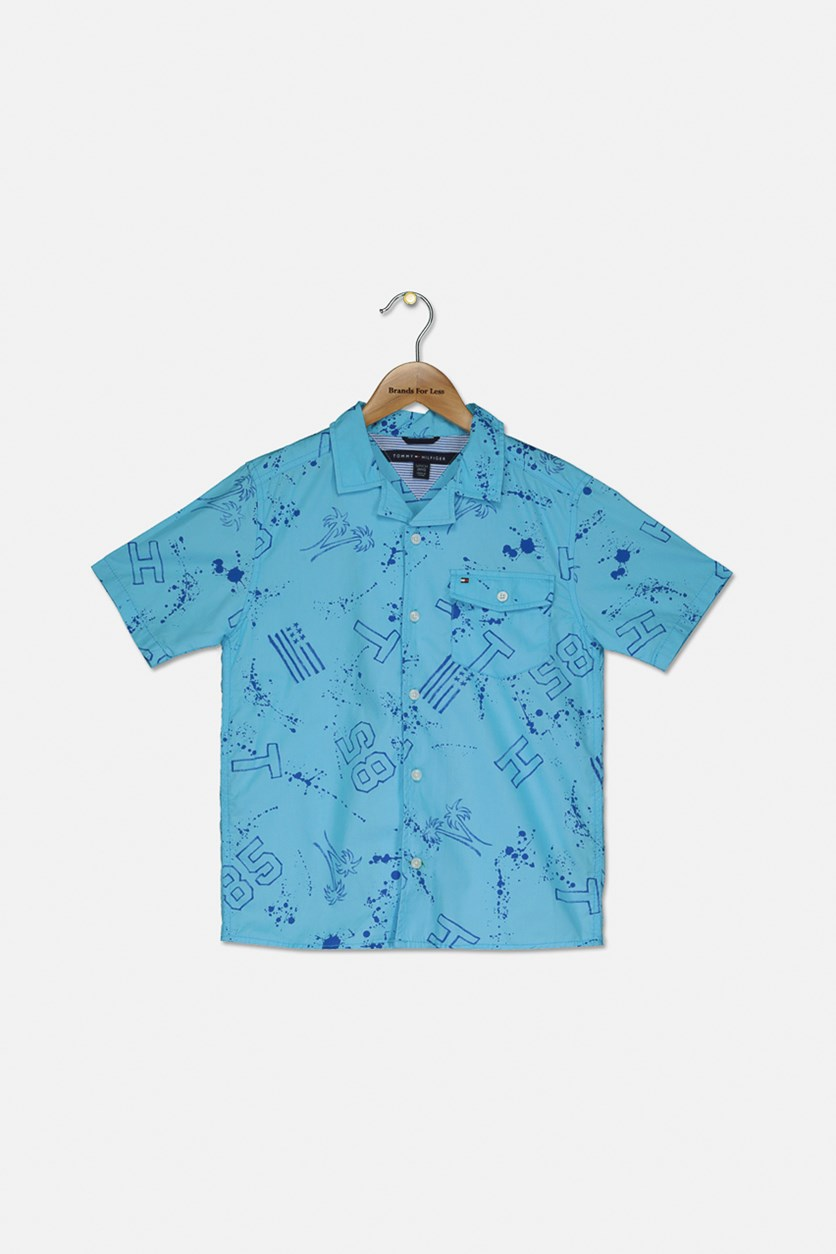 Big Boy's Brendon Paint Splatter Cotton Shirt, Blue