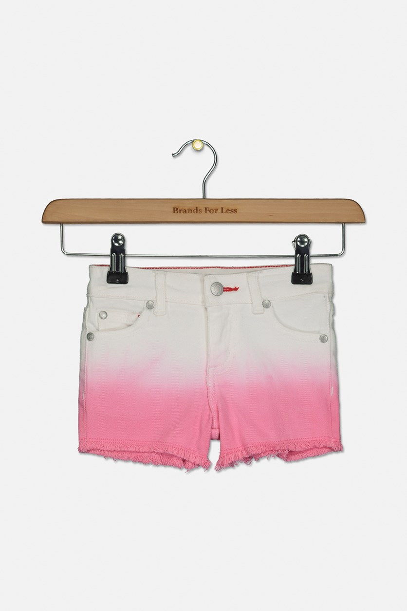 Little Girls Ombre Denim Shorts, Pink Carnation