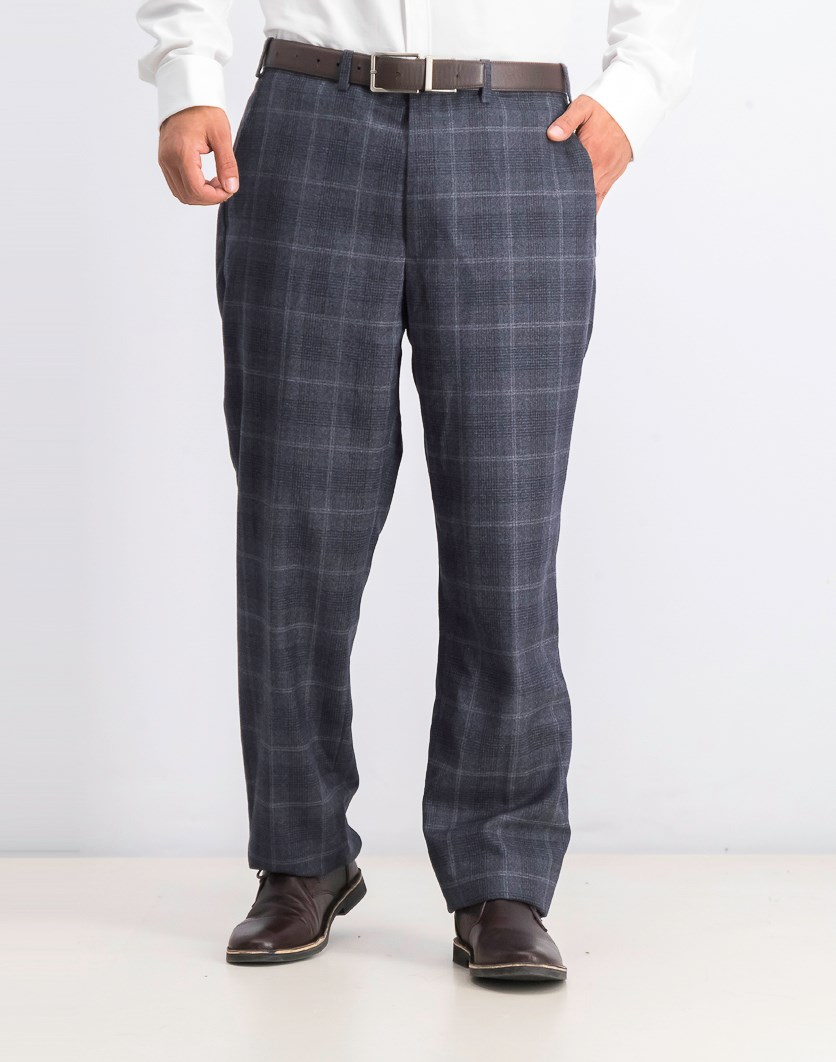 Men's Plaid Pants, Navy/Charcoal