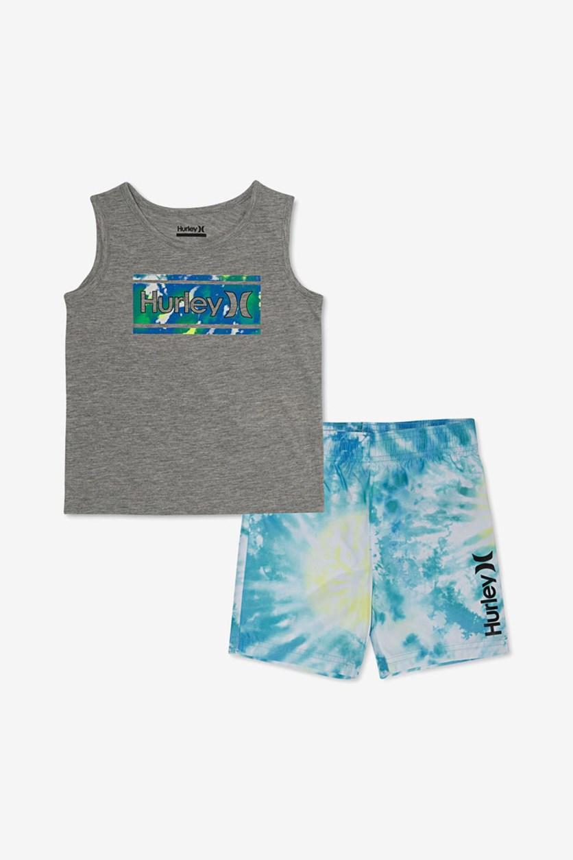 Toddlers Graphic Tank & Tie-Dye Boardshort Set, Grey Combo
