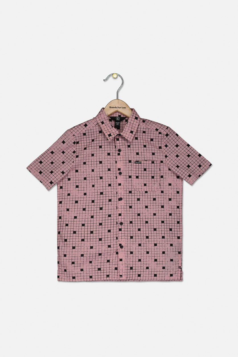 Big Boys Crossed Up Classic-Fit Tile-Print Shirt, Pink/Black