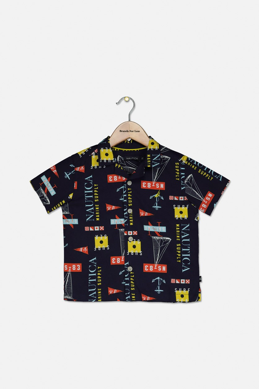 Baby Boy's Printed Casual Shirt, Navy Combo