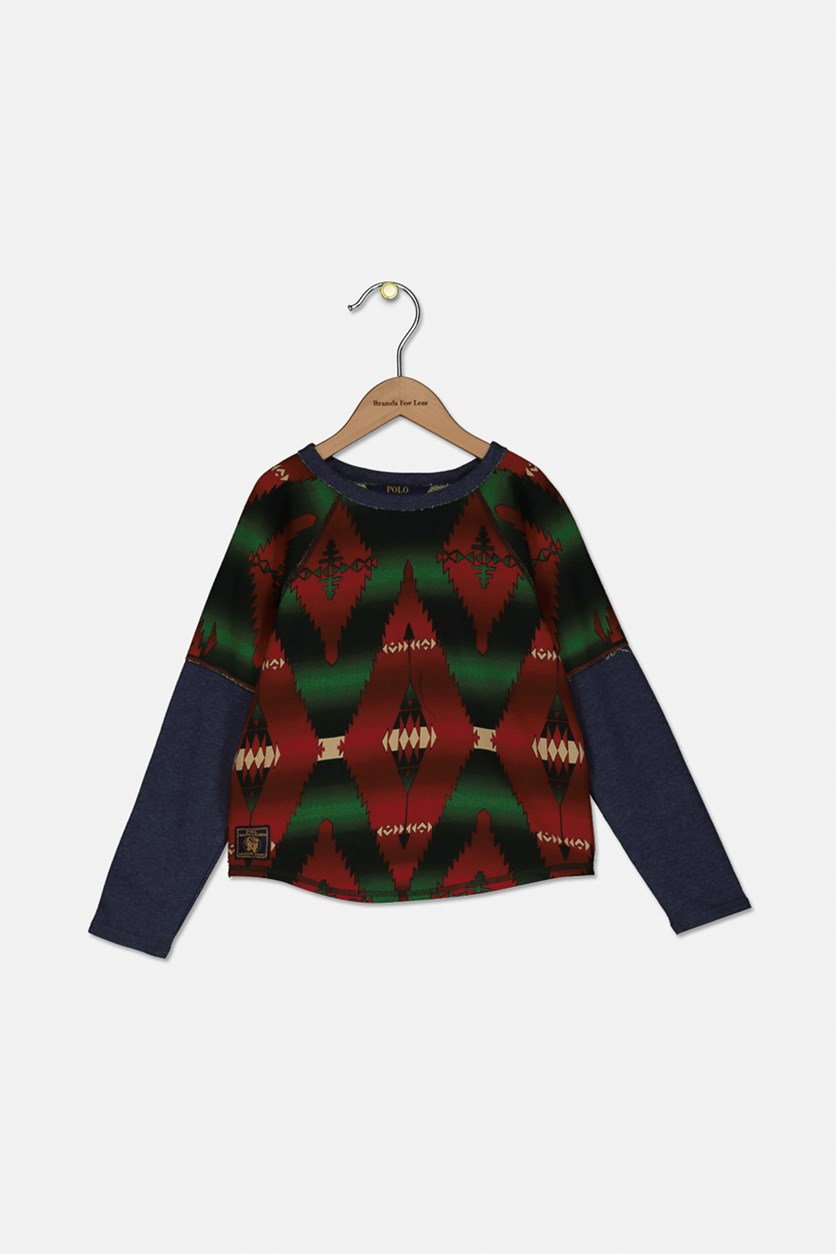 Girl's Long Sleeve Printed Tops, Red/Green/Navy