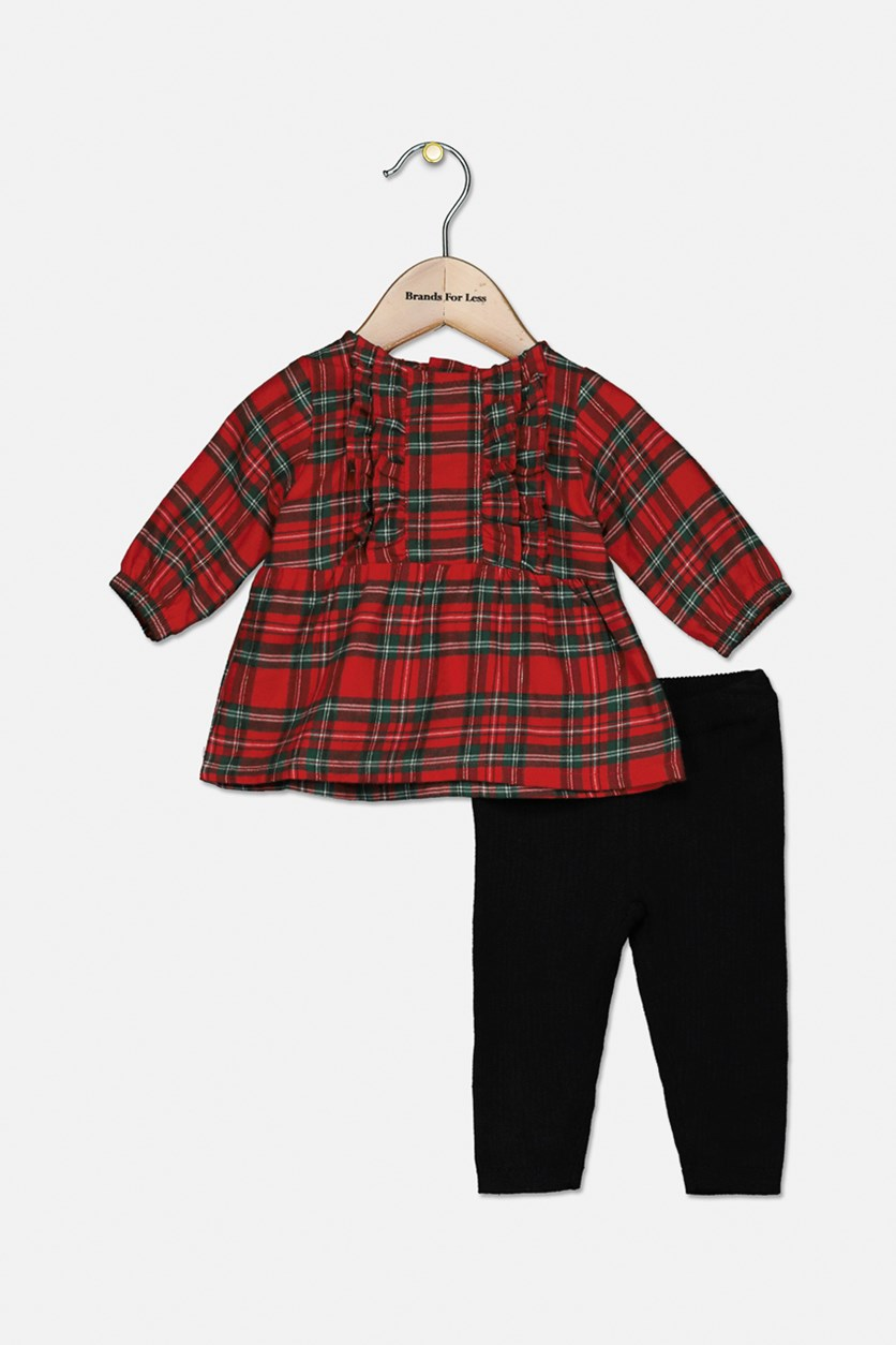 Toddler Girls' 2-Piece Plaid Top & Pants Set, Red/Black