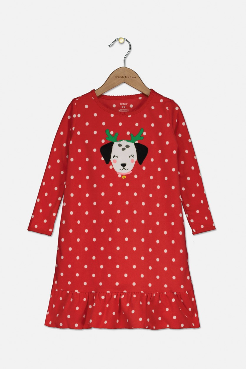 Toddler Girl's Long Sleeve Night Gown, Red
