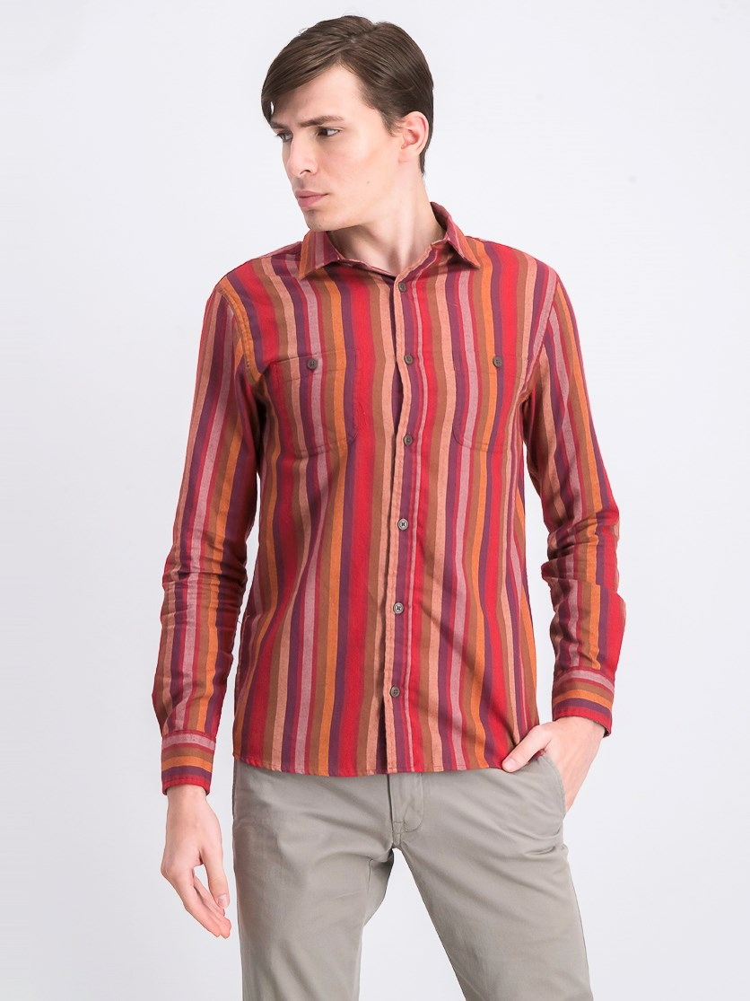 Men's Watson Brushed Stripe Twill Shirt, Red