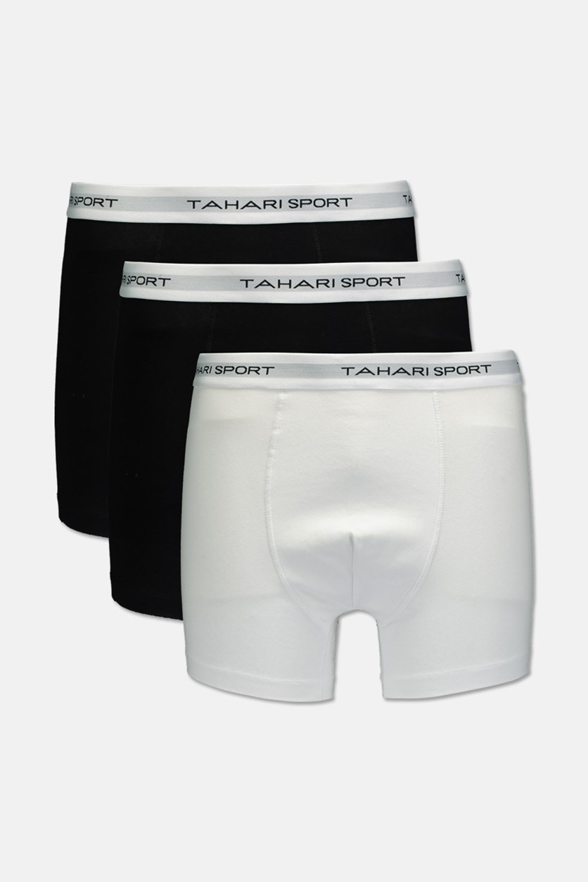 Men's 3 Pack Low Rise Trunks, Black/White/Black