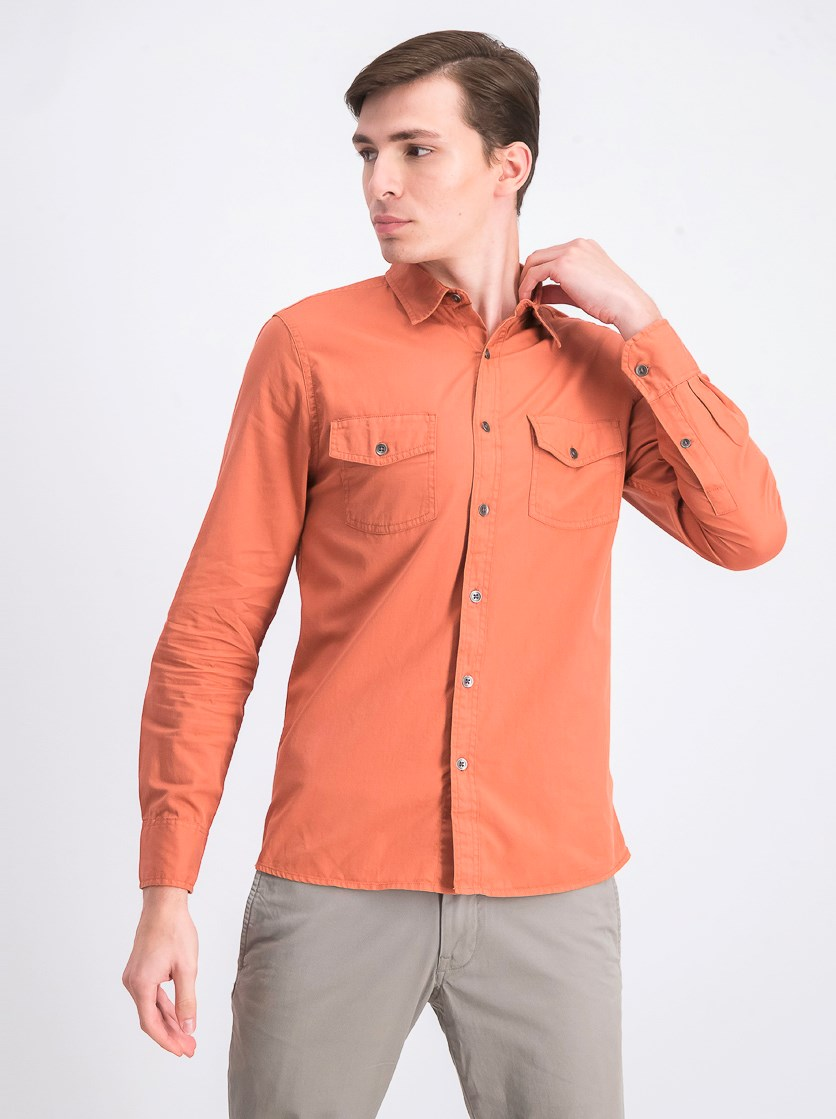 Men's Garment Dyed Plain Twill Work Shirt, Burnt Orange