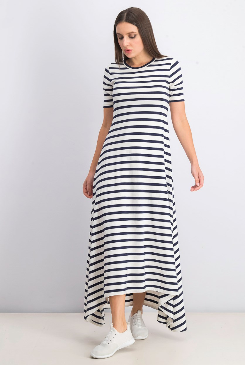 Women Petite Stripe Sunset Knit Maxi Dress, Navy/White