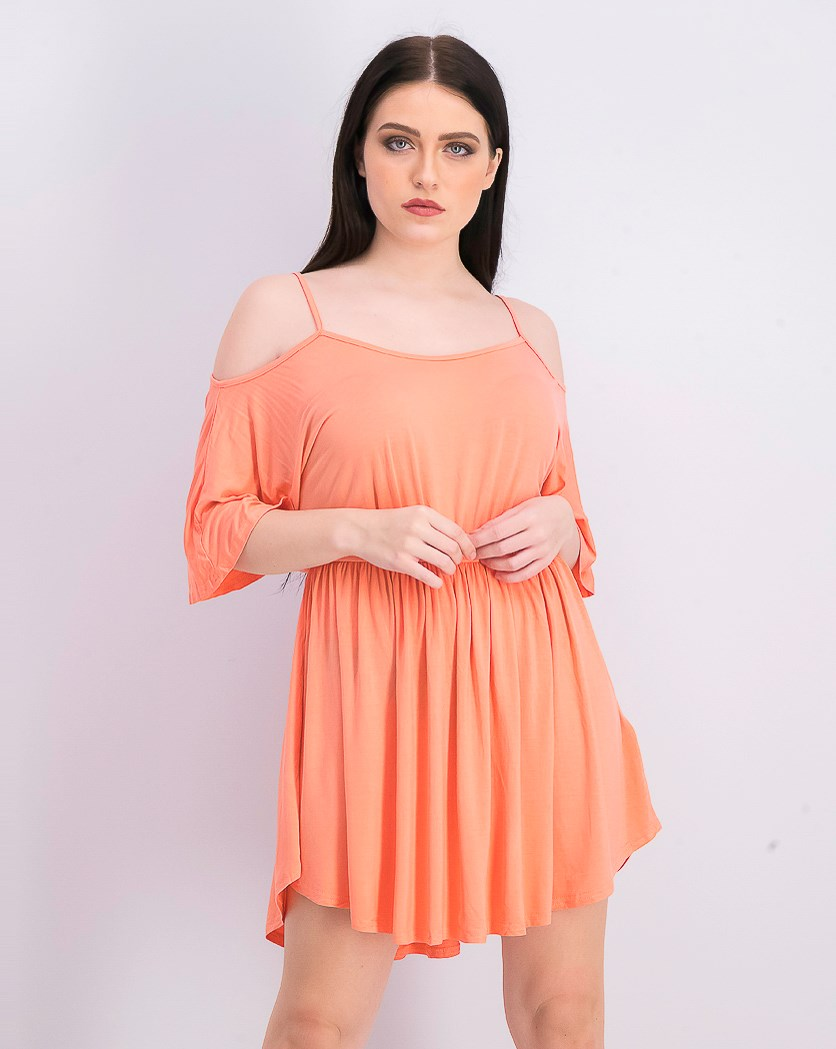 Women's Cold Shoulder Dress, Coral