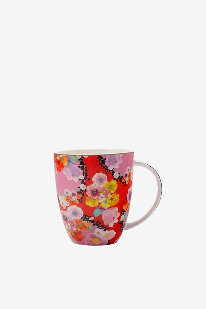 Cashmere Bloems Floral Print Mug,Pink/Red Combo