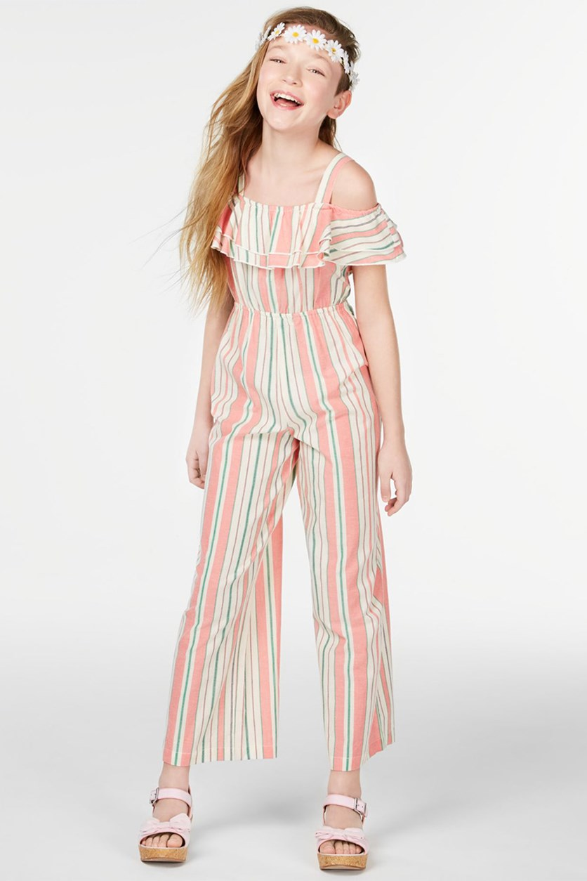 Big Girls Striped Ruffle Jumpsuit, Coral