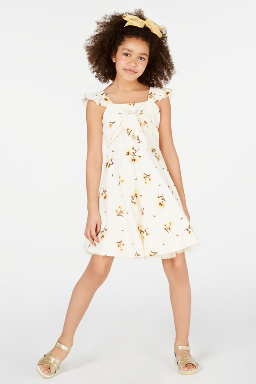 Big Girls Sunflower-Print Dress, Yellow