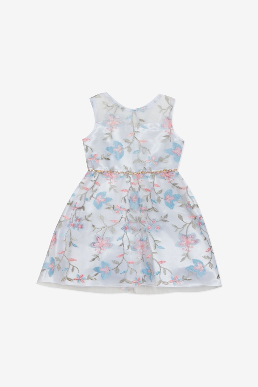 Baby Girls Floral Embroidered Dress, White