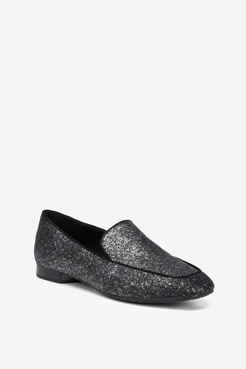 Womens Honey Square Toe Loafers, Glitter Suede