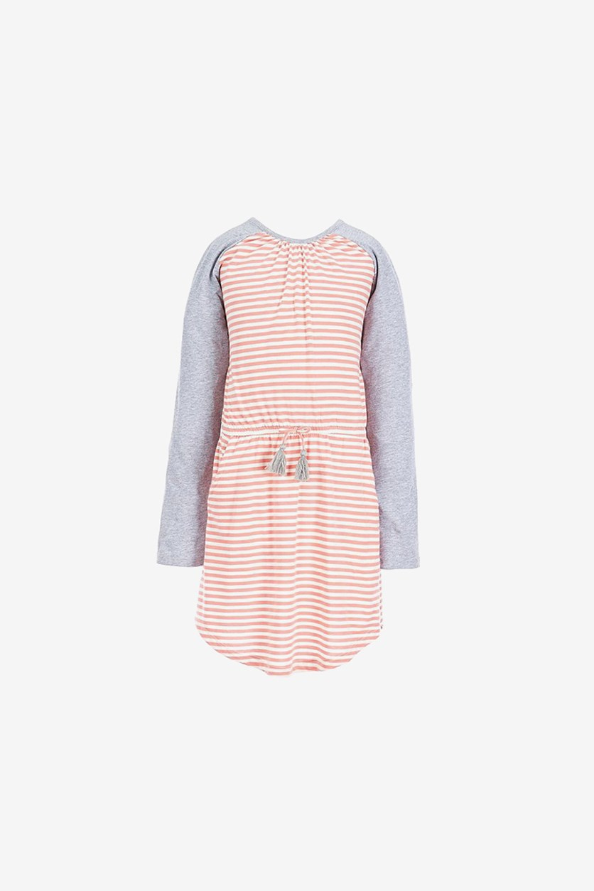 Kids Girl's Printed Raglan Dress, Mauve Glow Stripe