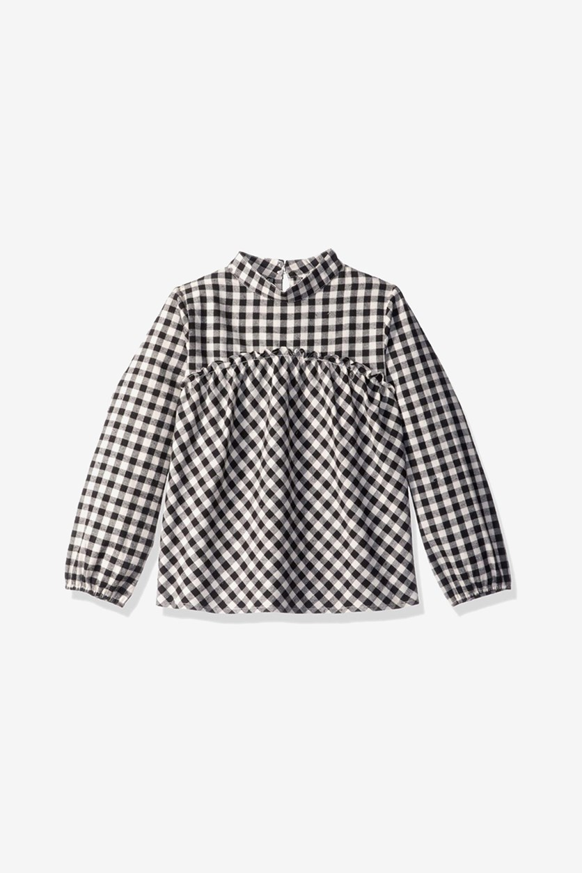 Kids Girls Checkered Long Sleeve Shirt, Sea Salt Check