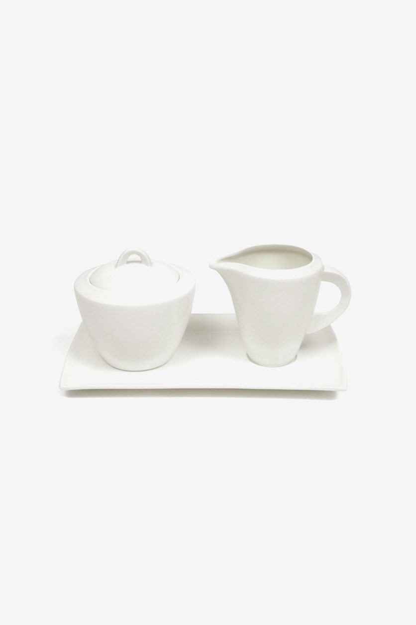 Sugar bowl, Gravy Boat And Saucer, White