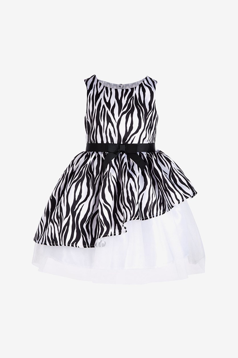 Little Girls Asymmetrical Zebra-Print Dress, Black/White