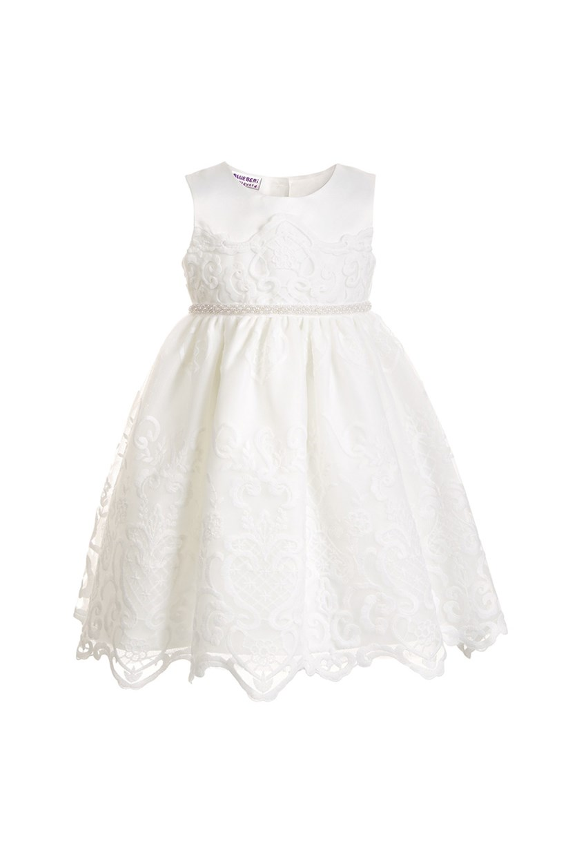 Toddler Girls Embroidered Dress, White