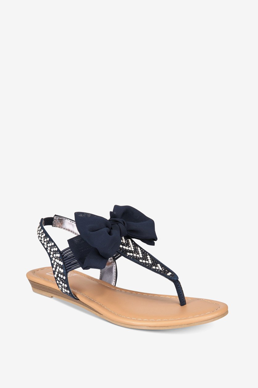 Women's Bow T-strap Sandals, Navy Pearl