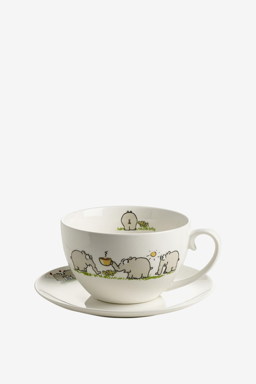 Jumbo Cup With Saucer, White