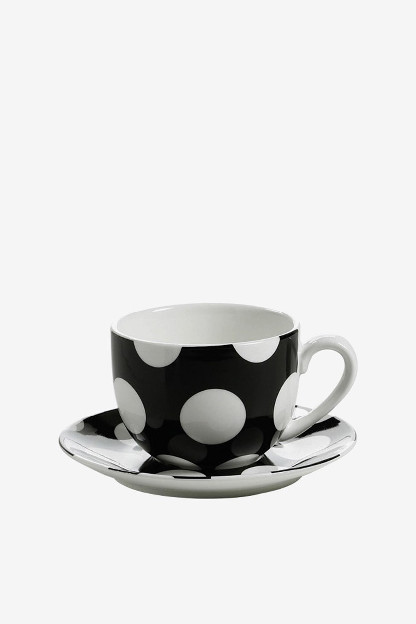 Cup With Saucer, Black/White