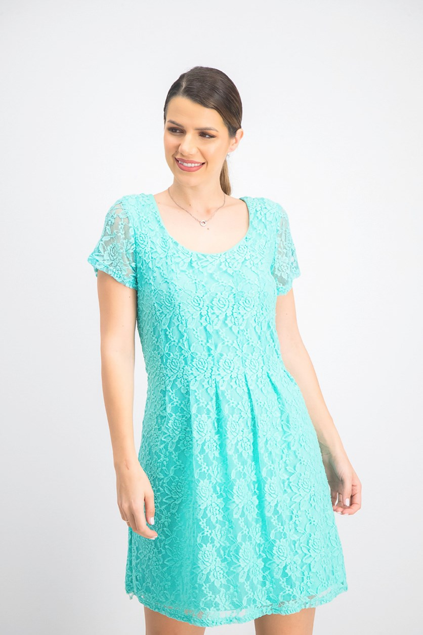 Women's Petite Lace Dress, Aqua