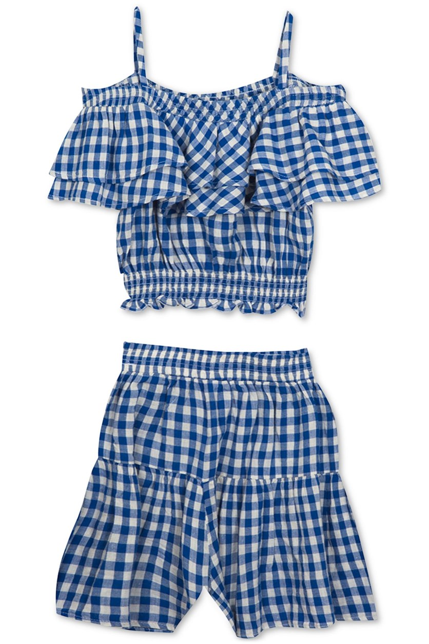 Big Girls 2-Pc. Gingham-Print Top & Shorts Set, Blue/White