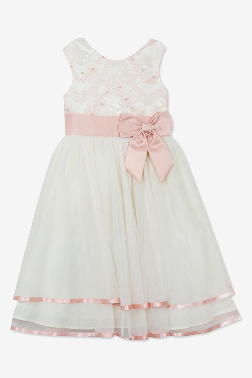 Girls Embroidered Sequin & Mesh Dress, Ivory/Pink