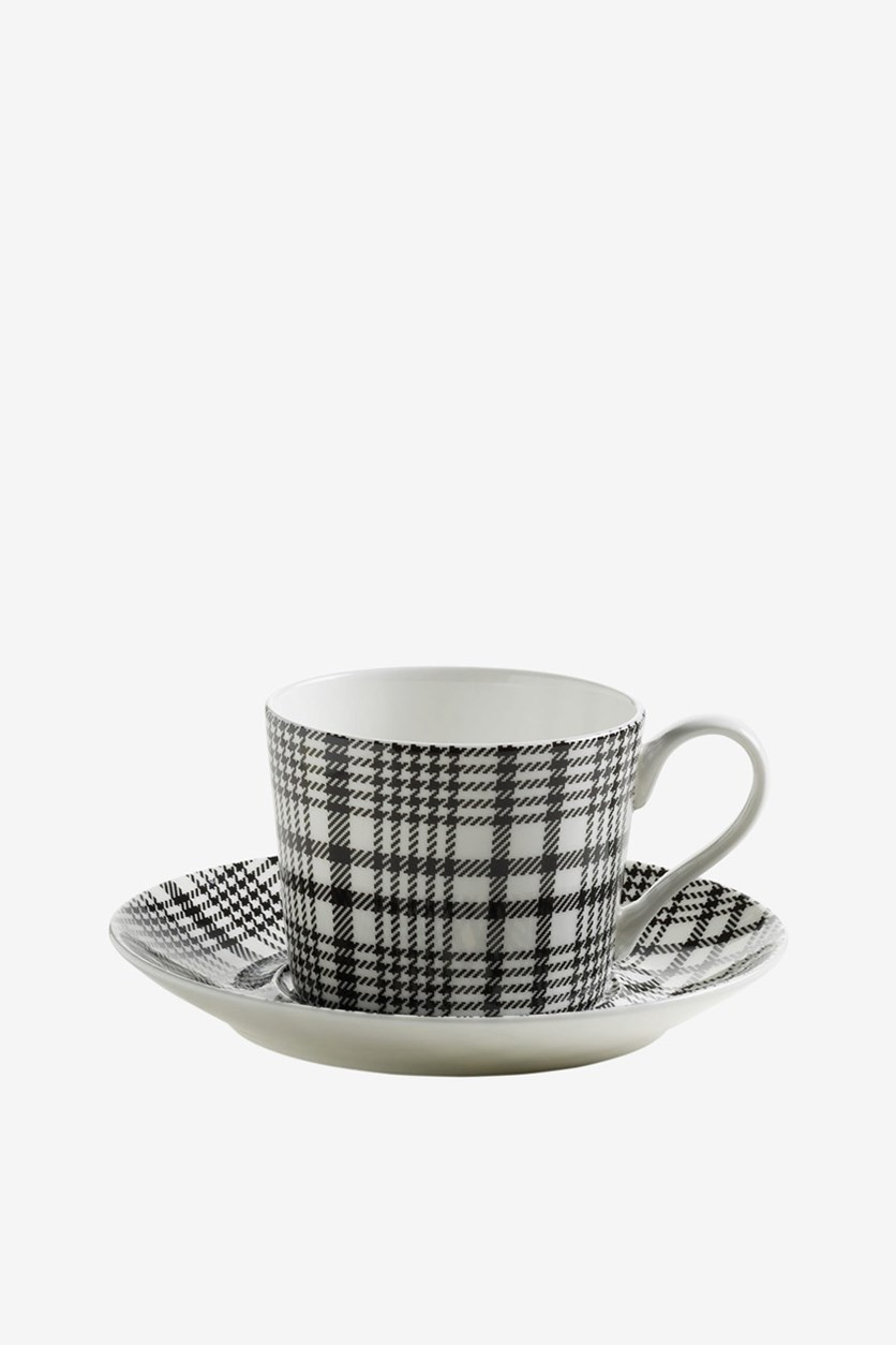 Glencheck Cup And Saucer, Black Combo