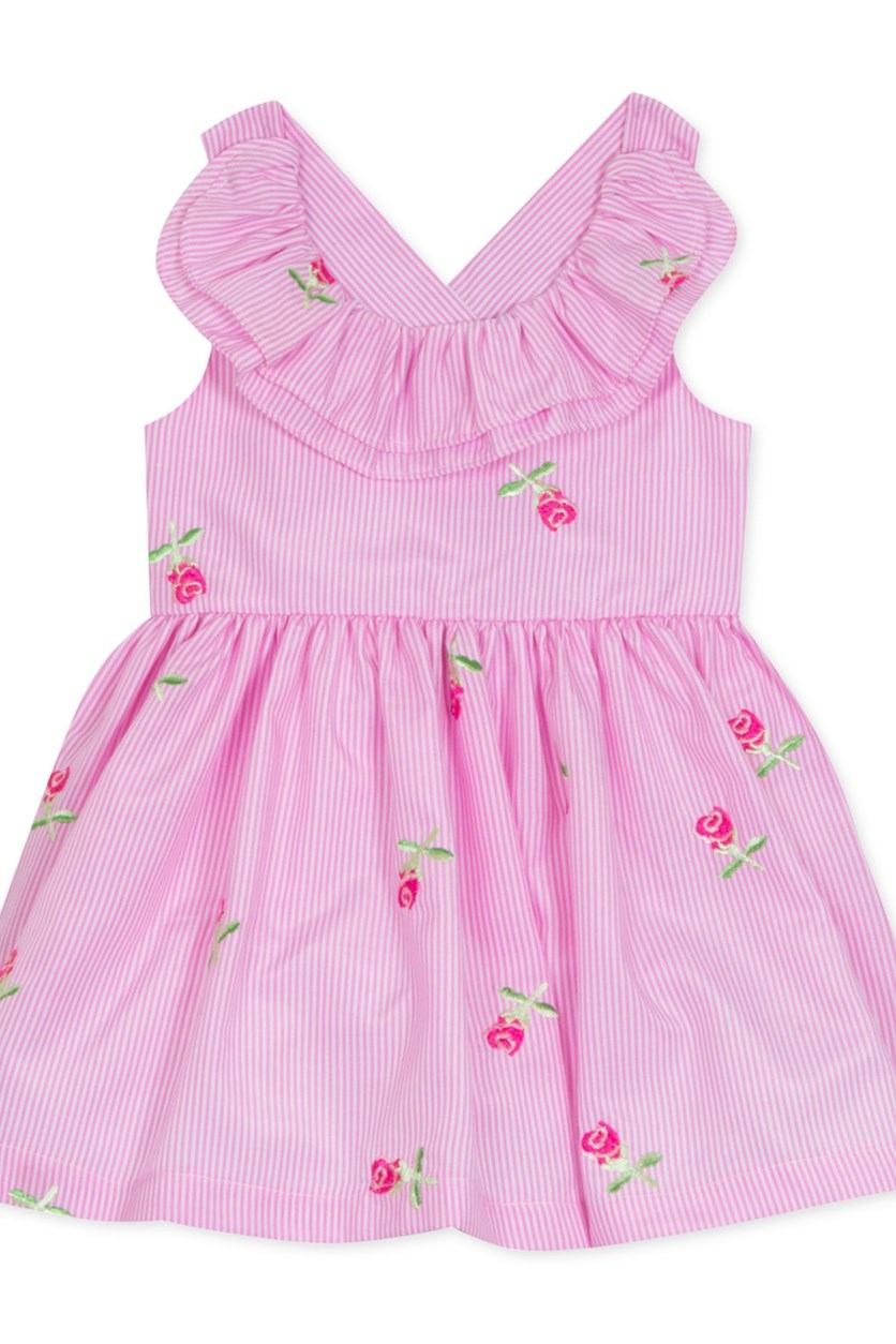 Baby Girls Floral Embroidered Ruffle Dress, Pink