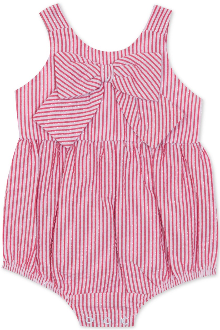 Baby Girls Striped Bow Bubble Bodysuit, Red