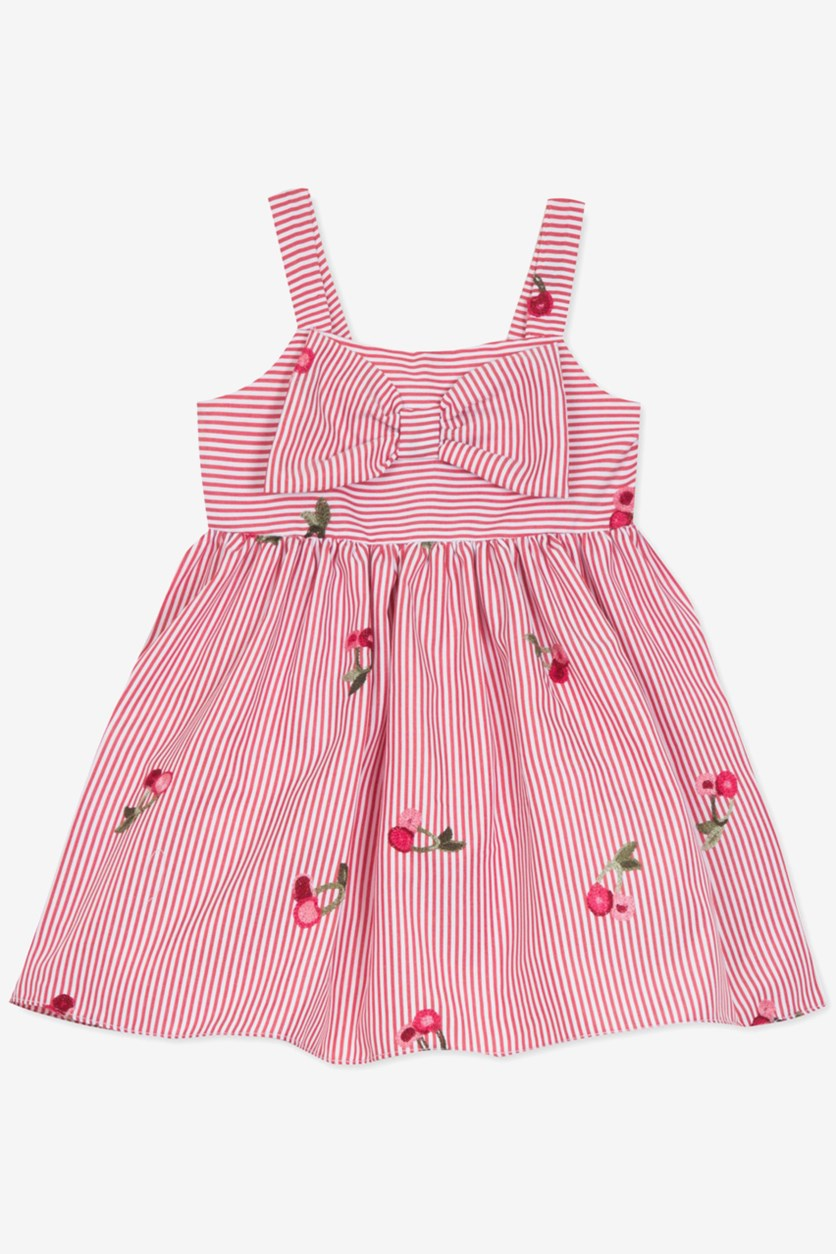 Baby Girls Embroidered Striped Dress, Red