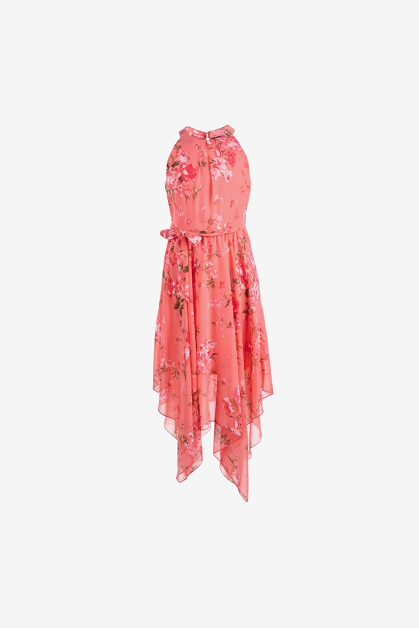 Big Girls Floral-Print Dress, Coral Floral