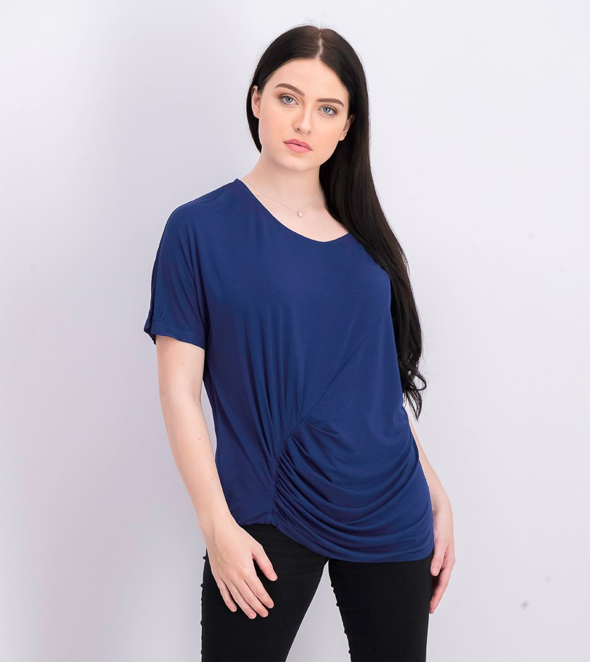 Women's V Neck Draped Tee, Blue