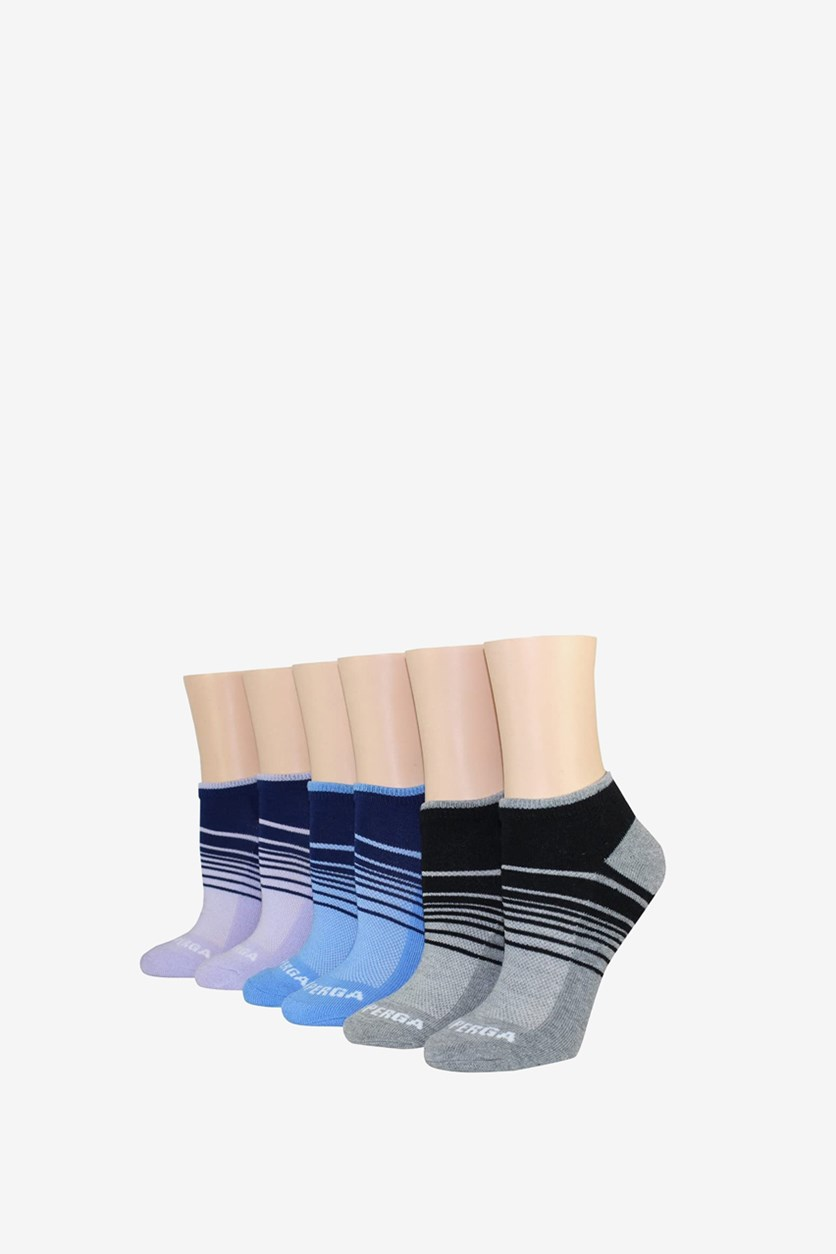 Women's 6 Pairs Low Cut Socks, Grey/Blue/Lilac