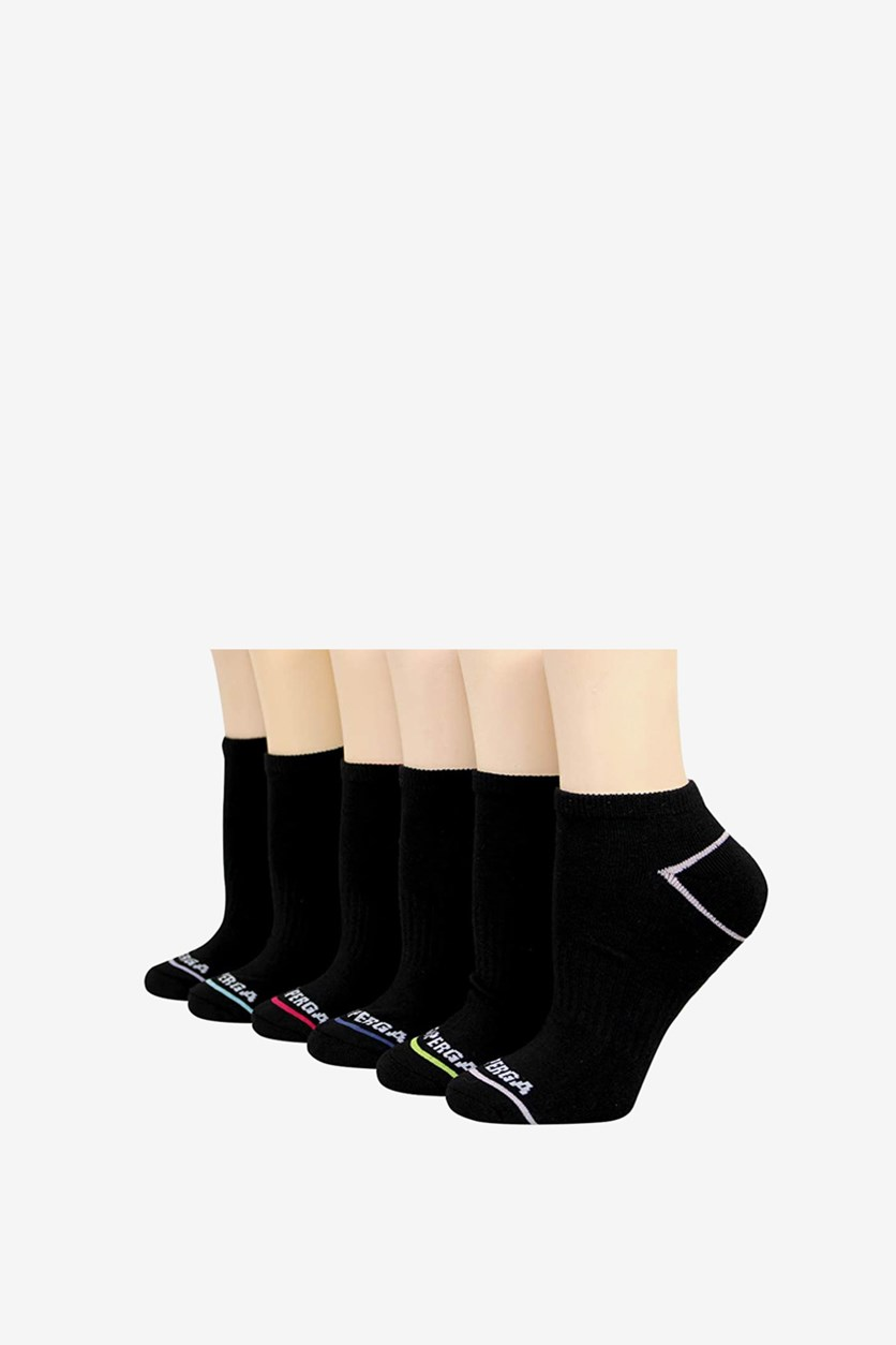 Women's 6 Pairs Low Cut Socks, Black