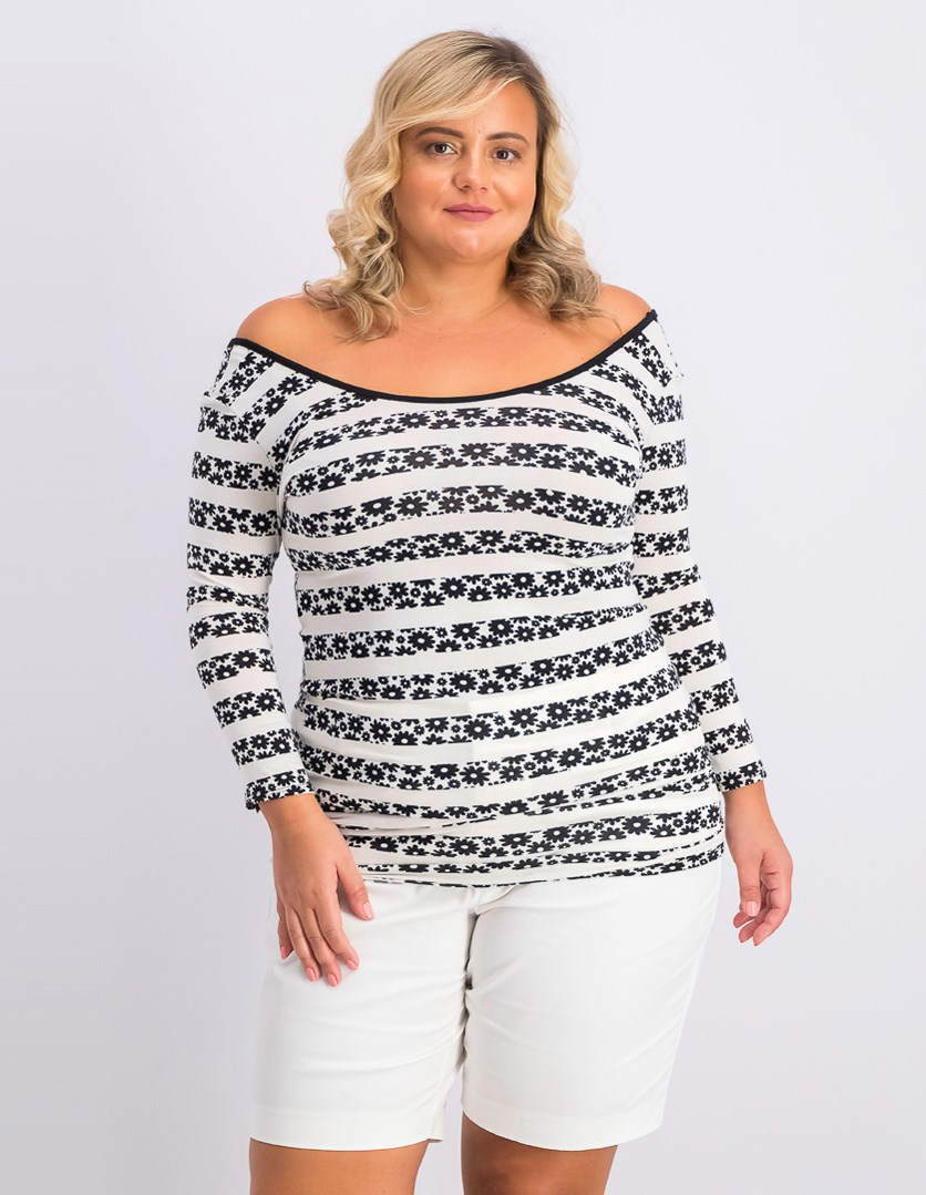 Women's Allover Printed Top, Black/Off White
