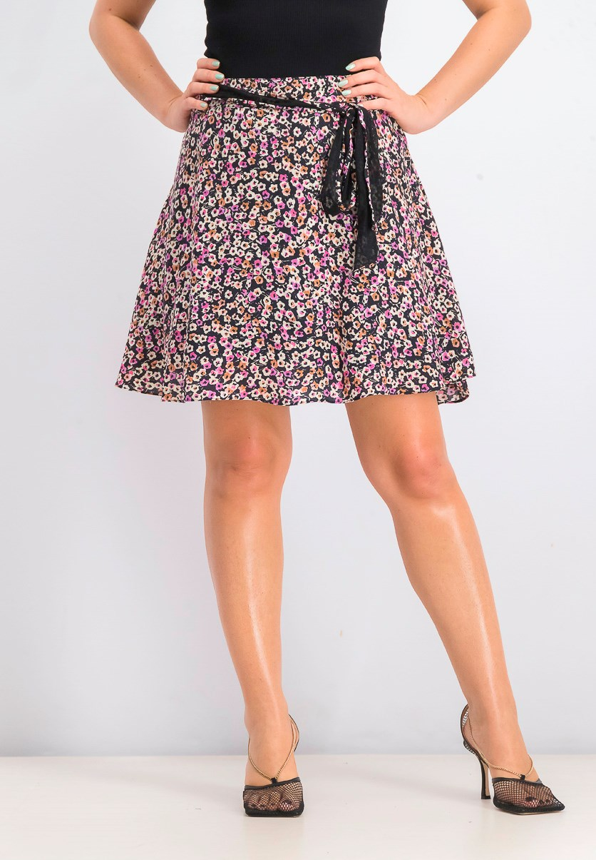 Women's Printed Skirt, Black Combo