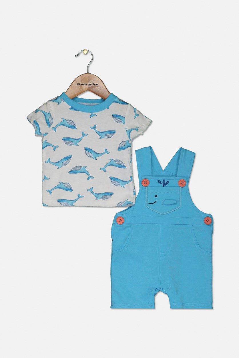 Toddlers Boy's Tops and Jumpsuit Set, Blue