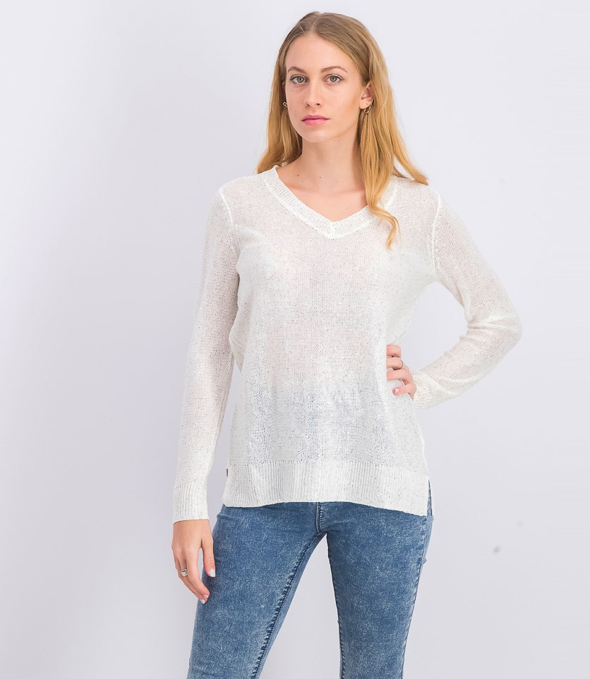 Womens V-Neck Gold-Tone Fleck Sweater, Off White/Gold